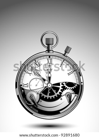Stopwatch with an open mechanism - stock vector