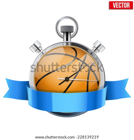 Stopwatch with basketball ball inside and ribbon. Sport and training vector illustration. Isolated on white background. - stock vector