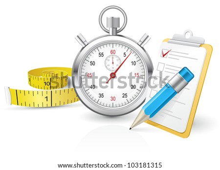 Stopwatch with clipboard and tape measure partly made with gradient mesh - stock vector