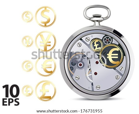 Stopwatch works with coins signs. Vector illustration - stock vector
