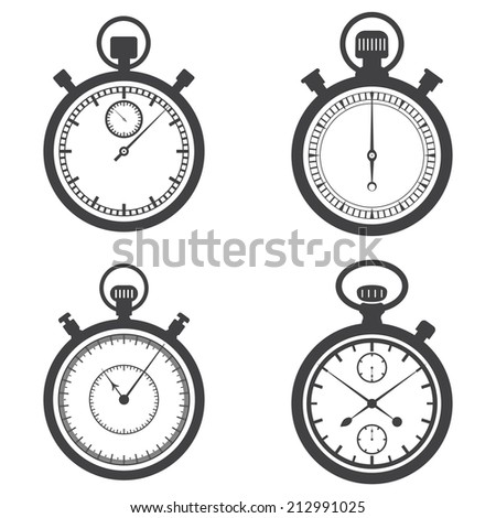 Stopwatches and chronometers. Vector illustration - stock vector