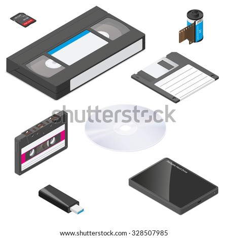 Storage media actual size proportions detailed isometric icon set vector graphic illustration - stock vector