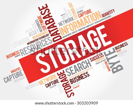 Storage word cloud, business concept - stock vector