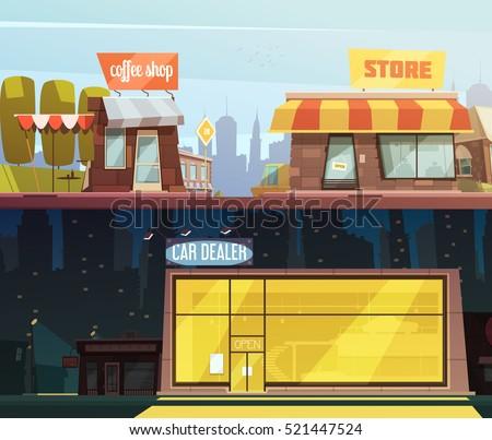 Store Buildings Horizontal Banners Set Car Stock Vector 521447524