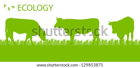 Store cattle ecology background organic farming vector concept - stock vector