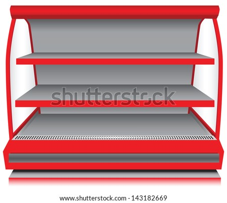 Store fixtures and equipment - open counter refrigerator. Vector illustration. - stock vector