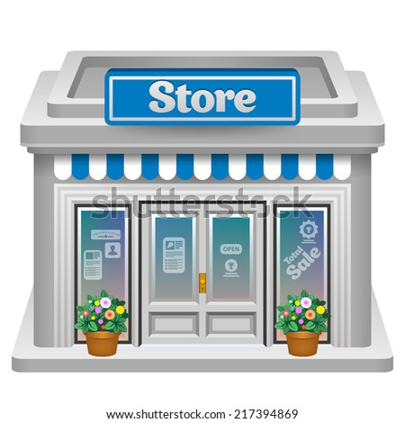 Store icon. Detailed vector illustration of a store front. Eps 10.