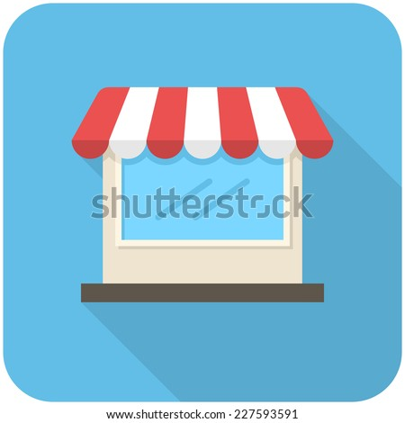 Store icon (flat design with long shadows) - stock vector