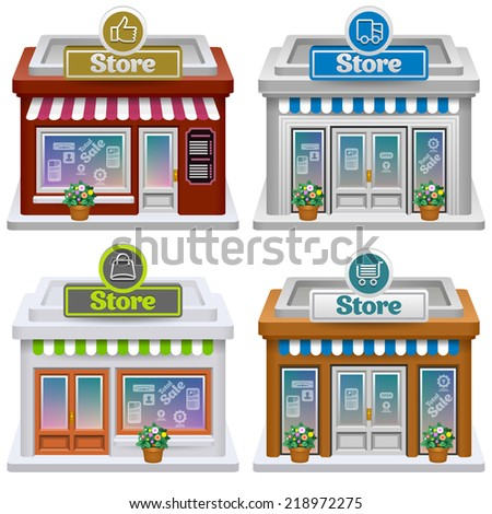Store icon set. Vector eps 10.