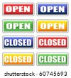 Store open and closed signs 4 colors set - stock vector