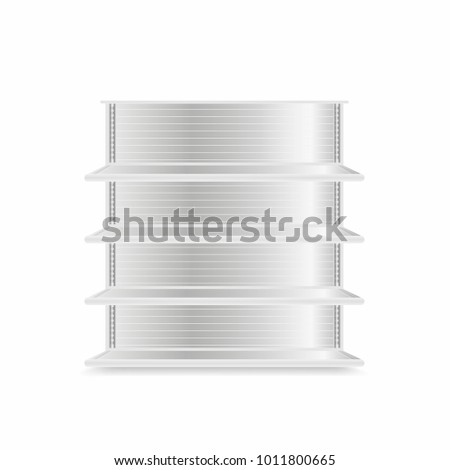 Store shelves mockup isolated on white background. Realistic supermarket metal shelves. Empty showcase. Vector