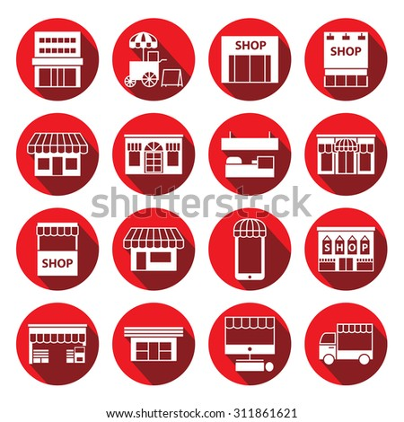 store ,shop and building icon set ,circular Labels - stock vector