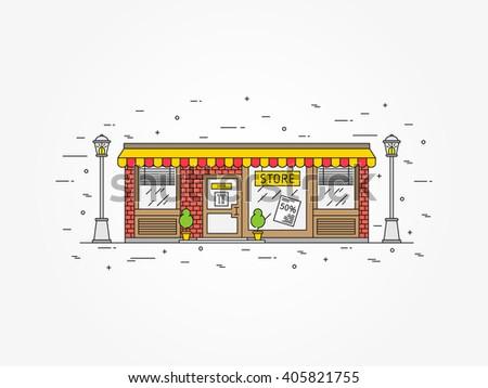 Store (shop) architecture exterior linear vector illustration. Commercial outdoor architecture line art concept. Exterior business building outline graphic design.  - stock vector