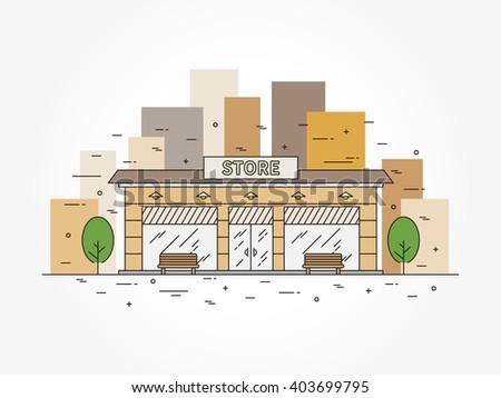 Store (shop) architecture linear vector illustration. Commercial building architecture line art concept. Exterior business building outline graphic design.  - stock vector