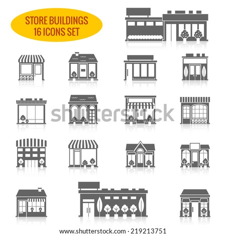 Store shop front window buildings black icon set isolated vector illustration - stock vector