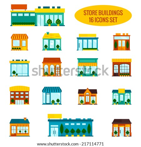Store shop front window buildings icon set flat isolated vector illustration - stock vector