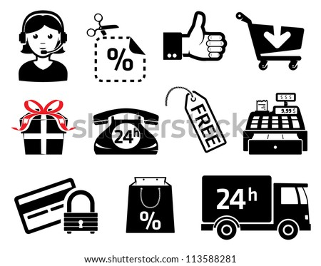 Store signs an icons, set for marketing - stock vector