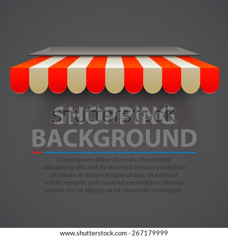 Store striped awning modern background. Vector illustration - stock vector