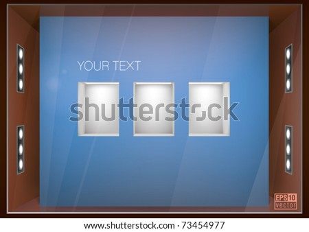 store window with illuminated shelves built into the wall, for interior design, eps10 vector - stock vector