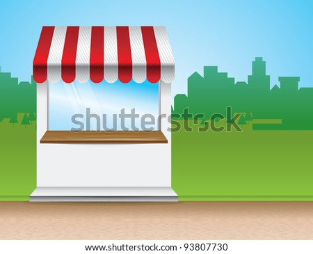 store with striped awning  - vector illustration - stock vector