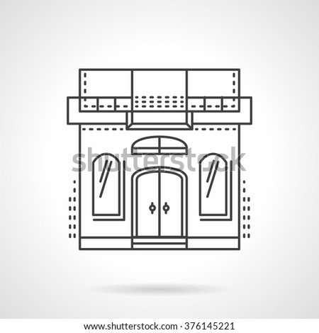 Storefront and showcases theme. Facade of sewing studio building. Commercial architecture. Vector icon flat thin line style. Element for web design, business, mobile app.  - stock vector