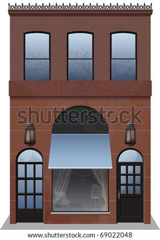 Storefront, building exterior. Highly detailed. Separately grouped. Easy edition. - stock vector