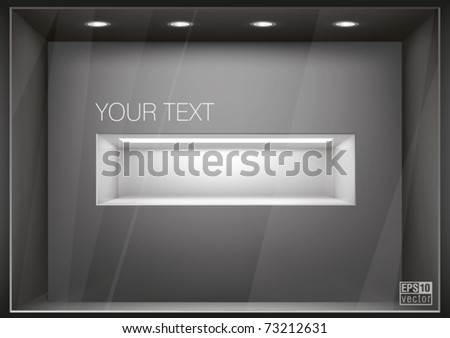 Storefront  with illumination of  shelf in a wall, you can change colors for the background, eps10 vector