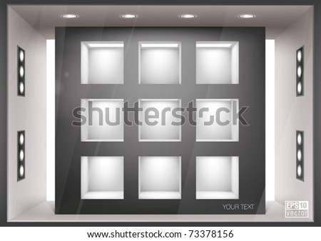 Storefront  with illumination of shelves into the wall, you can change colors for the background, eps10 vector - stock vector