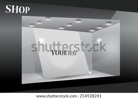 Storefront with poster for your design. Eps10 vector.Part of set - stock vector