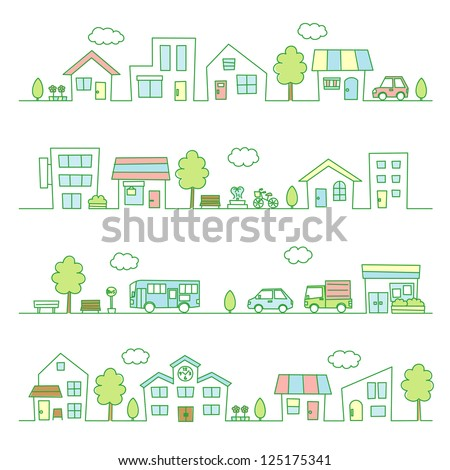 stores and houses on a street / green color - stock vector
