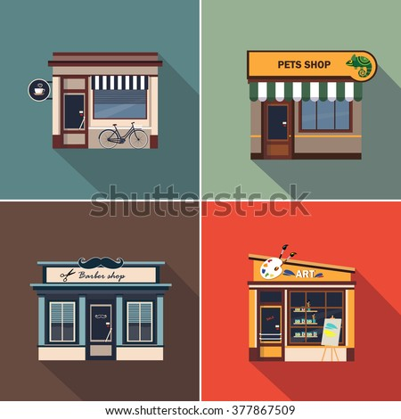 Stores and Shop Facades. Colourful Vector Illustration Collection - stock vector