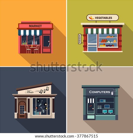 Stores and Shop Facades. Flat Vector Illustration Collection - stock vector