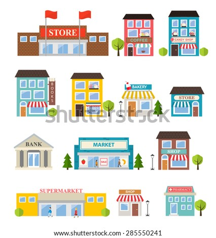 Stores and shops buildings icons set isolated on white background, vector illustration - stock vector