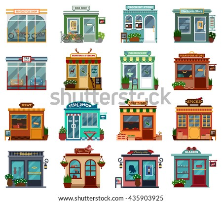 Stores and shops exterior street view collection for buying cars and motorcycles. Bikes and crockery, electronic and plumbing, hunting and fishing, furniture, meat and fish, vegetable and spices - stock vector