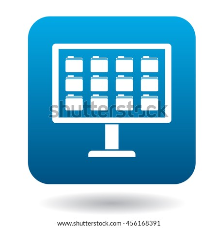 Storing files in computer icon in simple style in blue square. Work with files symbol - stock vector