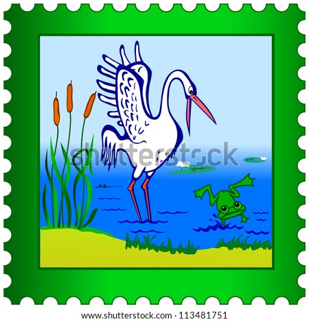 Stork and frog on a postage stamp - stock vector
