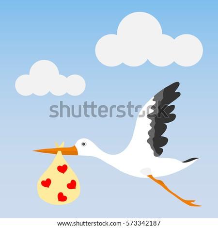 stork brings baby stork bird baby stock vector royalty free