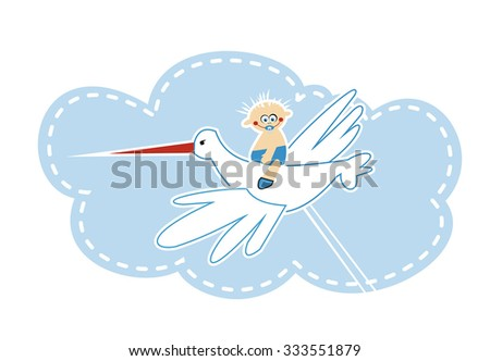 stork carrying a baby boy - stock vector