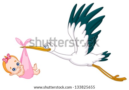 Stork carrying a baby girl - stock vector