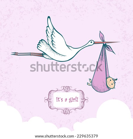 Stork carrying newborn baby-girl, card for baby shower - stock vector