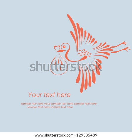 Stork delivering a newborn baby - stock vector