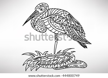 stork. Hand-drawn with ethnic pattern. Coloring page - isolated on a white background. Zendoodle patterns. Vector illustration.