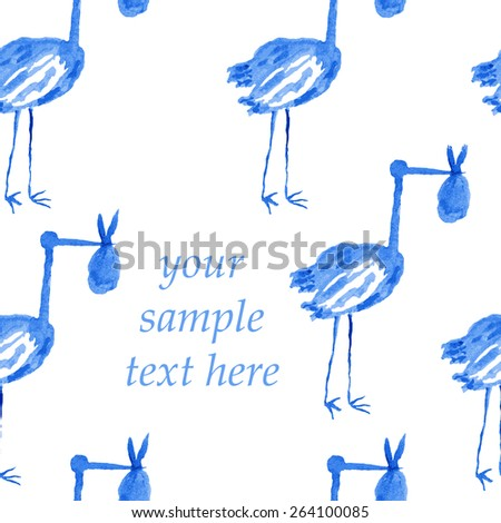 stork holding a bundle with a newborn in its beak.Seamless pattern with space for your inscription.watercolor - stock vector