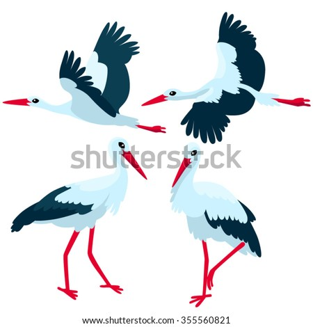 Stork standing and flying on white background / There are some storks in cartoon style  - stock vector