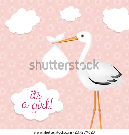 Stork With Baby Girl With Gradient Mesh, Vector Illustration - stock vector