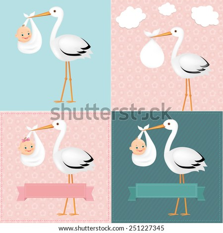 Stork With Baby Set With Gradient Mesh, Vector Illustration - stock vector