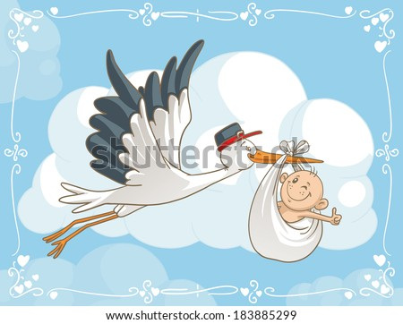 Stork with Baby Vector Cartoon - Vector cartoon of a cute stork carrying a baby to its destination. File type: vector EPS AI8 compatible.   - stock vector