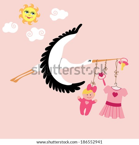 Stork with Items for newborn baby girl flying in the sky. - stock vector