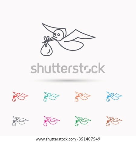 Stork with sack icon. Newborn baby symbol. Linear icons on white background. - stock vector