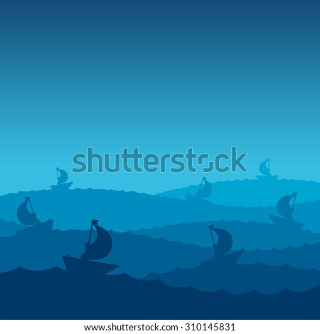 storm at sea - ships on the waves in night. Vector marine travel illustration. - stock vector